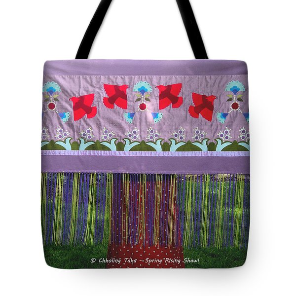 Tote Bag featuring the tapestry - textile Spring Rising by Chholing Taha