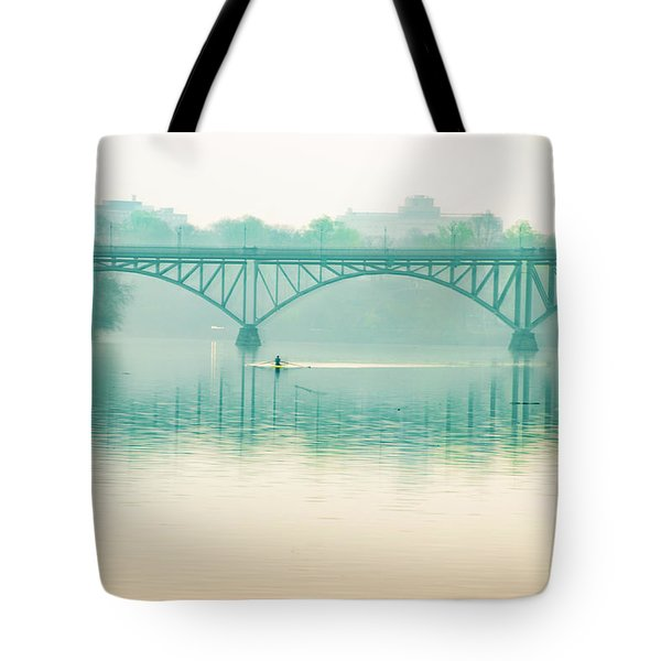 Tote Bag featuring the photograph Spring - Rowing Under The Strawberry Mansion Bridge by Bill Cannon
