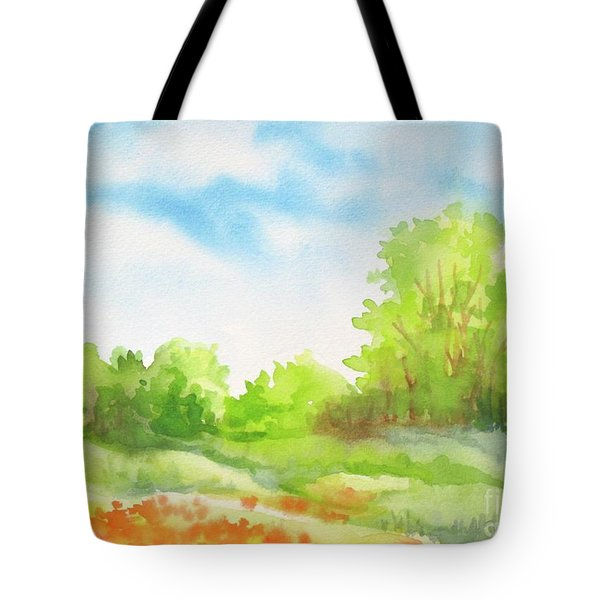Tote Bag featuring the painting Spring Scene by Inese Poga