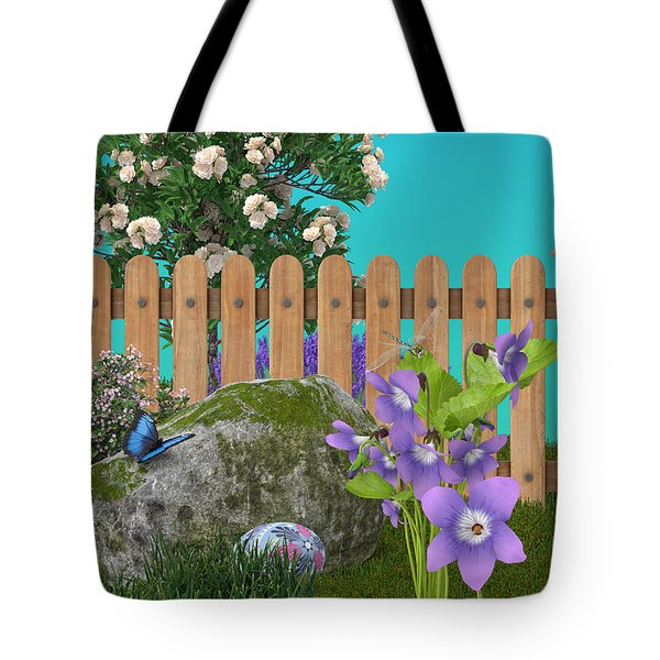 Tote Bag featuring the digital art Spring Scene by Mary Machare