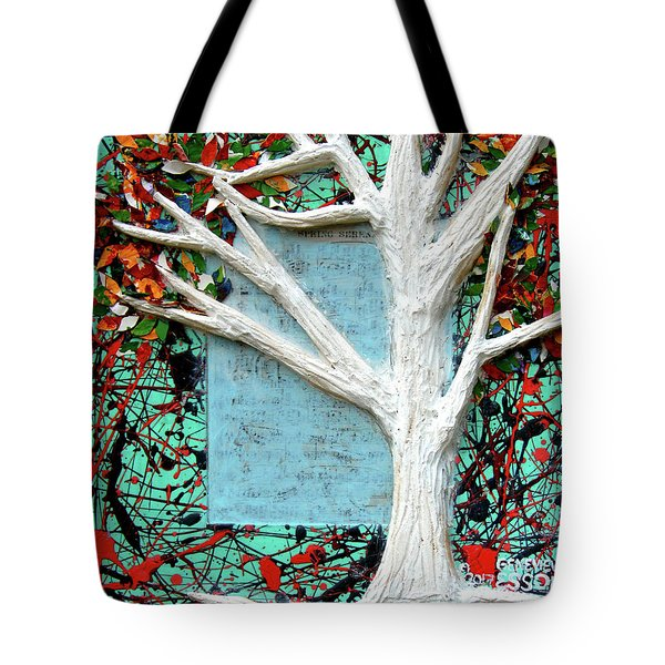 Tote Bag featuring the painting Spring Serenade With Tree by Genevieve Esson