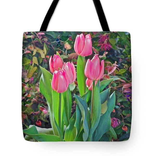 Spring Show 14 Pink Tulips  Tote Bag