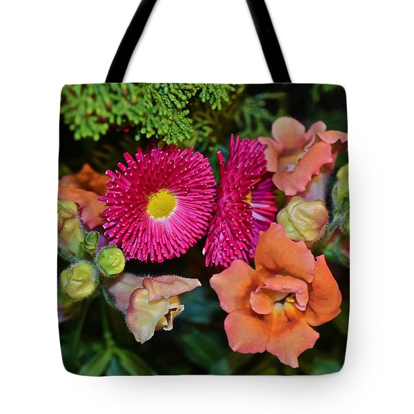 Spring Show 15 Snapdragons And English Daisy Tote Bag