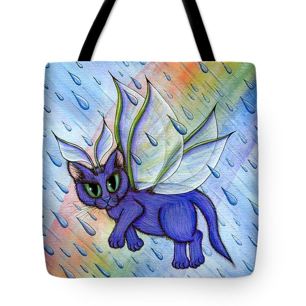 Spring Showers Fairy Cat Tote Bag