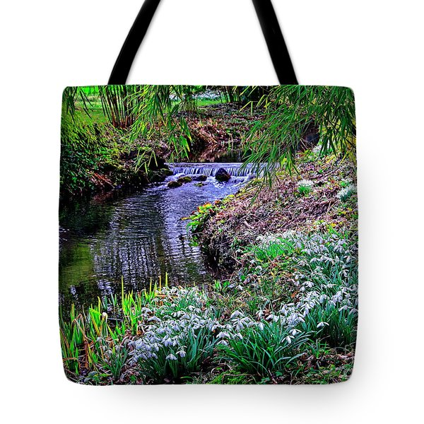 Spring Snowdrops By Stream Tote Bag