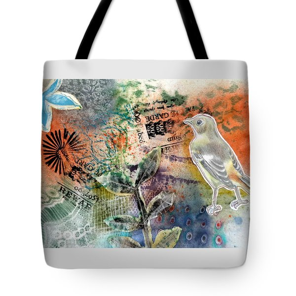 Tote Bag featuring the mixed media Spring Song by Rose Legge