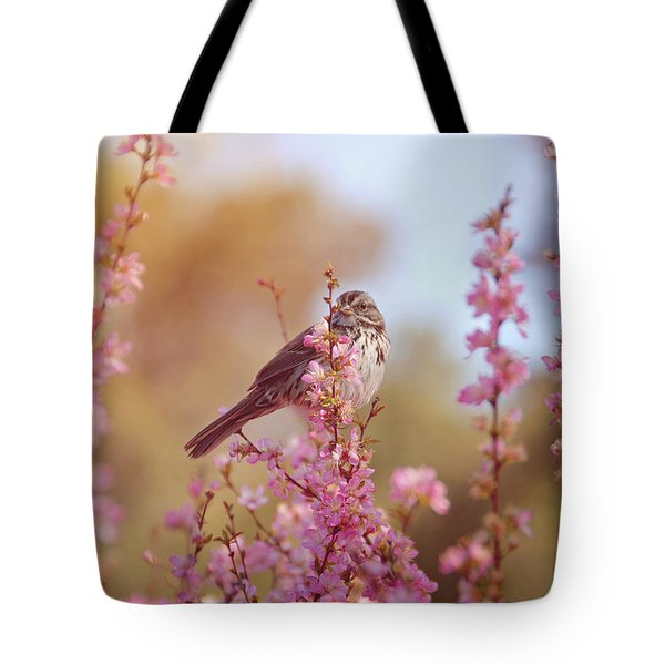 Tote Bag featuring the photograph Spring Sparrow by Lynn Bauer