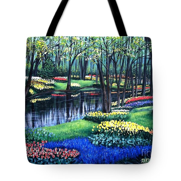 Tote Bag featuring the painting Spring Splendor Tulip Garden by Patricia L Davidson