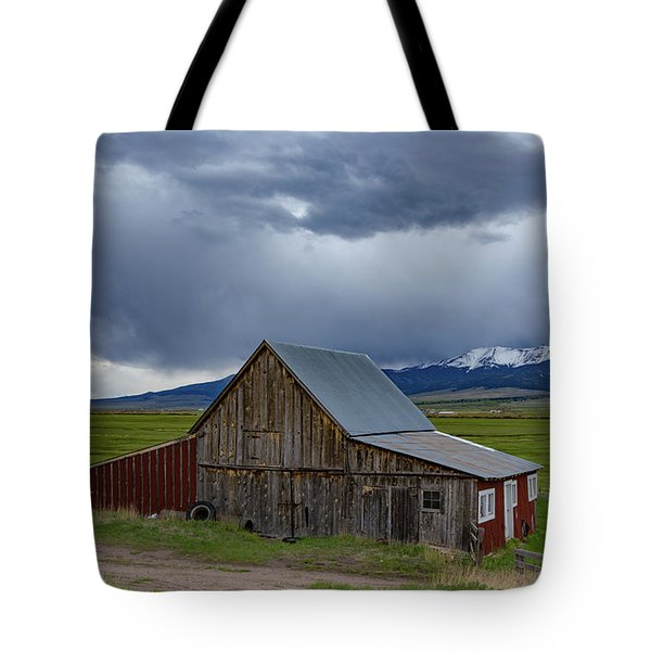 Spring Storm Looms Above The Wet Mountain Valley Tote Bag
