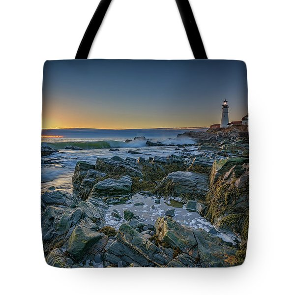 Spring Sunrise At Portland Head Tote Bag