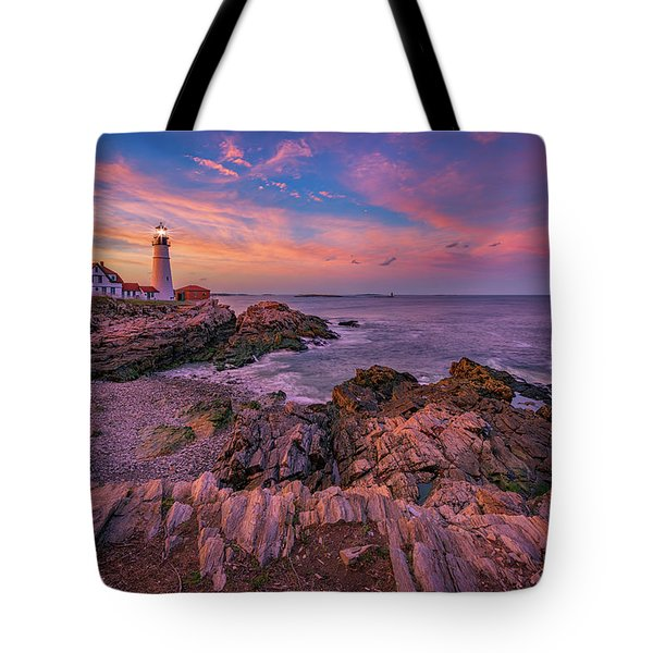 Spring Sunset At Portland Head Lighthouse Tote Bag by Rick Berk