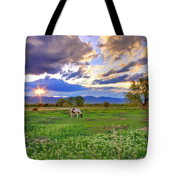 Spring Sunset Over The Rockies Tote Bag