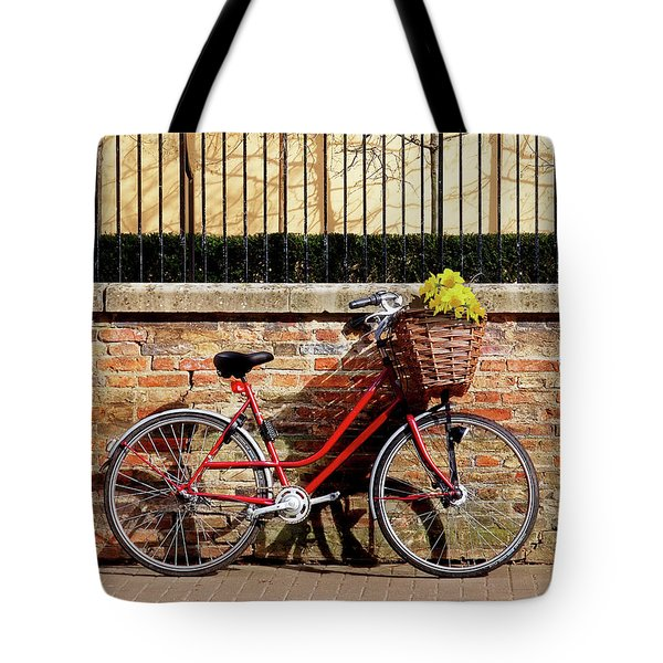 Tote Bag featuring the photograph Spring Sunshine And Shadows - Bicycle In Cambridge by Gill Billington