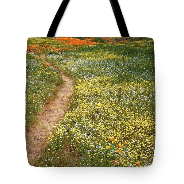 Tote Bag featuring the photograph Spring Trail Through A Sea Of Wildflowers At Diamond Lake In California by Jetson Nguyen