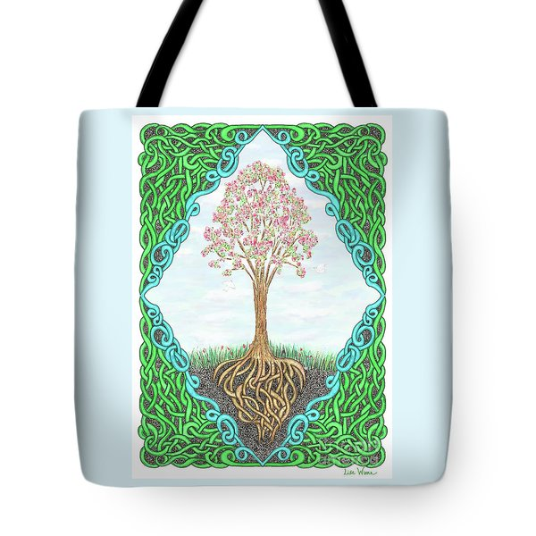 Tote Bag featuring the drawing Spring Tree With Knotted Roots And Knotted Border by Lise Winne