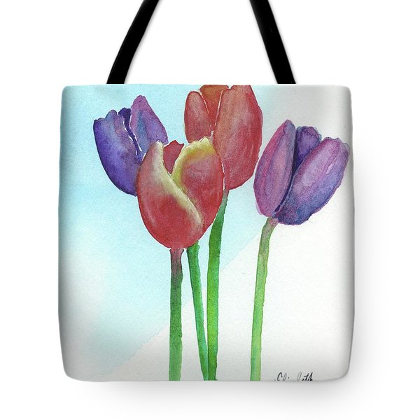 Tote Bag featuring the painting Spring Tulips by Betsy Hackett