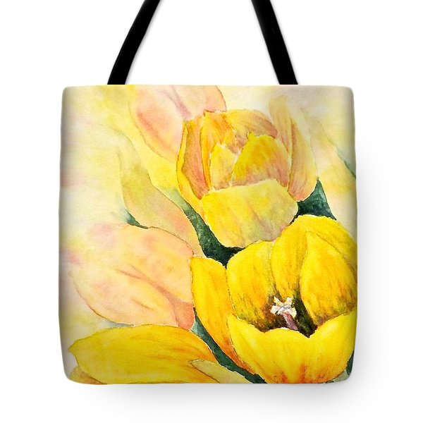 Tote Bag featuring the painting Spring Tulips by Carolyn Rosenberger