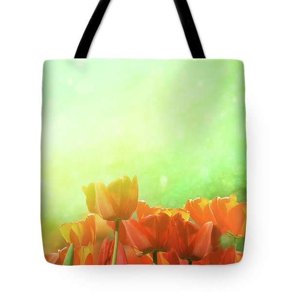 Spring Tulips In Field Tote Bag