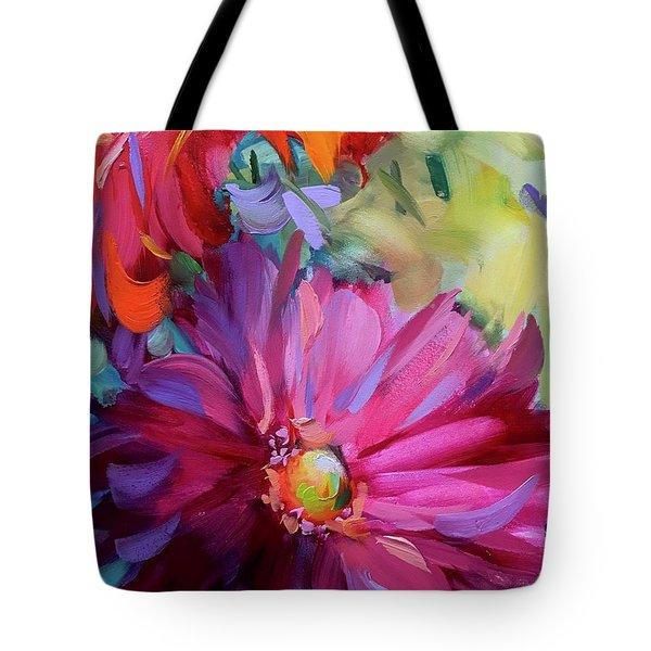 Spring Violet Daisy Tote Bag