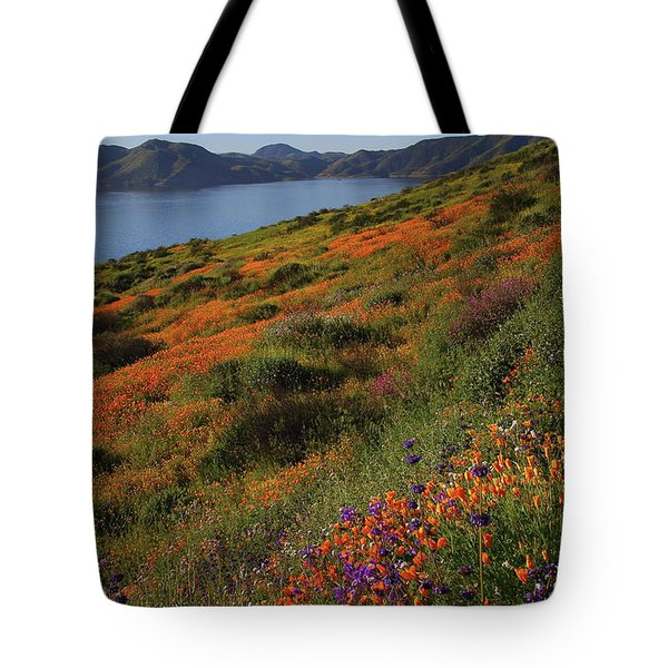 Tote Bag featuring the photograph Spring Wildflower Season At Diamond Lake In California by Jetson Nguyen