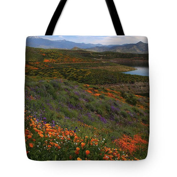 Tote Bag featuring the photograph Spring Wildflowers At Diamond Lake In California by Jetson Nguyen