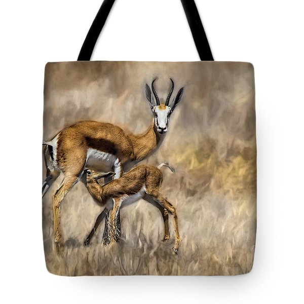 Springbok Mom And Calf Tote Bag