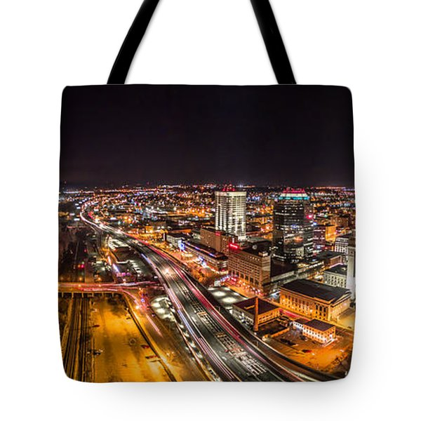 Springfield Massachusetts Night Long Exposure Panorama Tote Bag by Petr Hejl