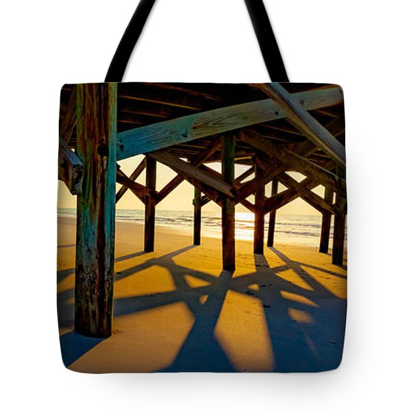 Springmaid Pier At Sunrise Tote Bag