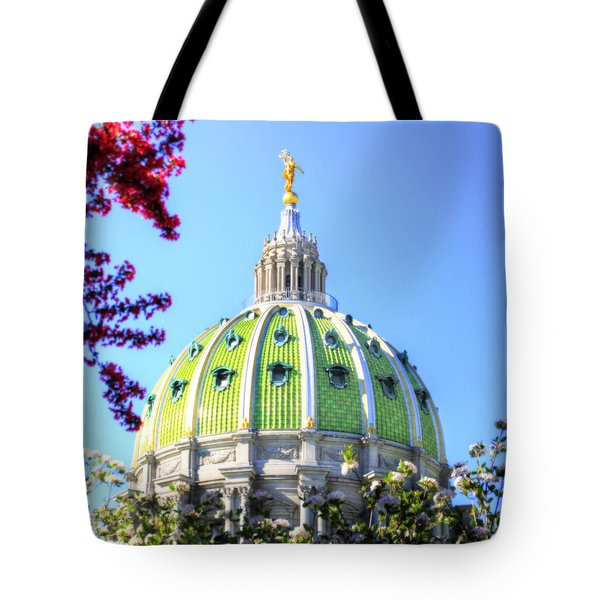 Tote Bag featuring the photograph Spring's Arrival At The Pennsylvania Capitol by Shelley Neff