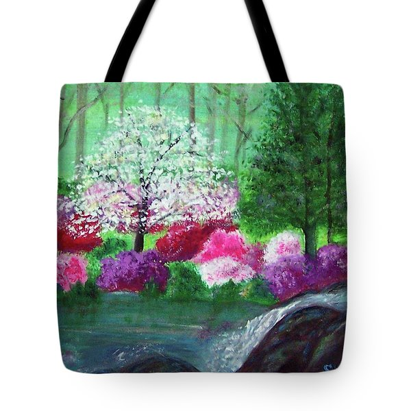 Tote Bag featuring the painting Springtime Azaleas In Georgia by Sonya Nancy Capling-Bacle