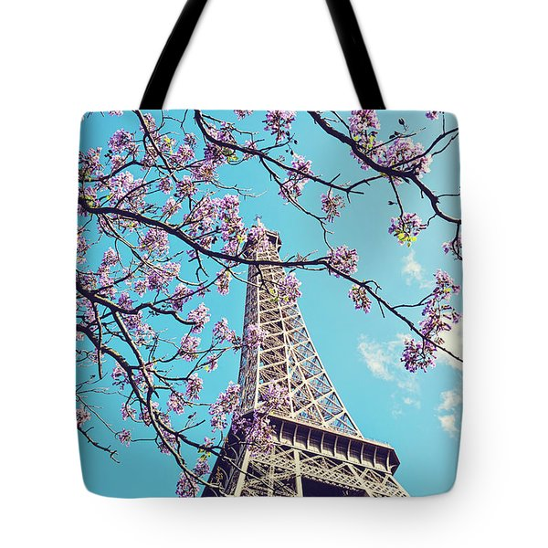 Springtime In Paris - Eiffel Tower Photograph Tote Bag by Melanie Alexandra Price