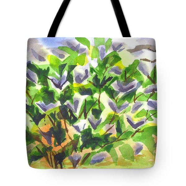 Tote Bag featuring the painting Springtime Lilac Abstraction by Kip DeVore