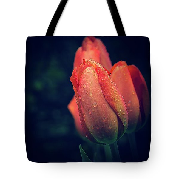 Tote Bag featuring the photograph Springtime Orange Tulips With Drops by Julie Palencia