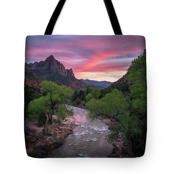 Springtime Sunset At Zion National Park Tote Bag