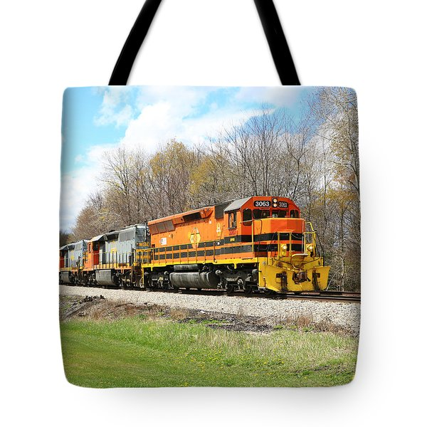Springtime Train Tote Bag