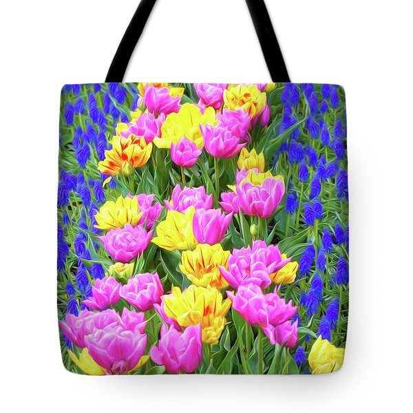 Springtime Tulips 01 Painterly Effecy Tote Bag