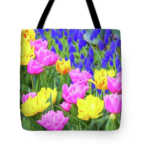 Springtime Tulips 02 Painterly  Tote Bag