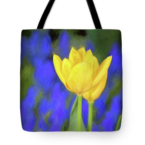 Springtime Yellow Tulips Painterly  Tote Bag