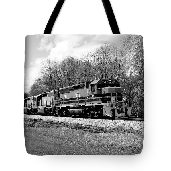 Sprintime Train In Black And White Tote Bag
