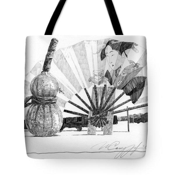 Spirit Of Japan. Pumpkin Jar And Fan Tote Bag