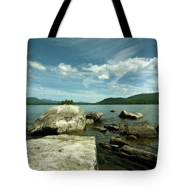 Squam Lake On The Rocks Tote Bag by Rick Frost