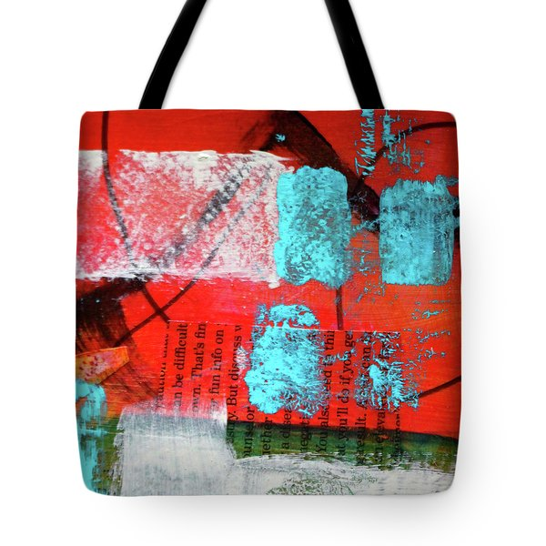 Tote Bag featuring the mixed media Square Collage No. 10 by Nancy Merkle