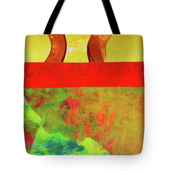 Tote Bag featuring the mixed media Square Collage No. 11 by Nancy Merkle