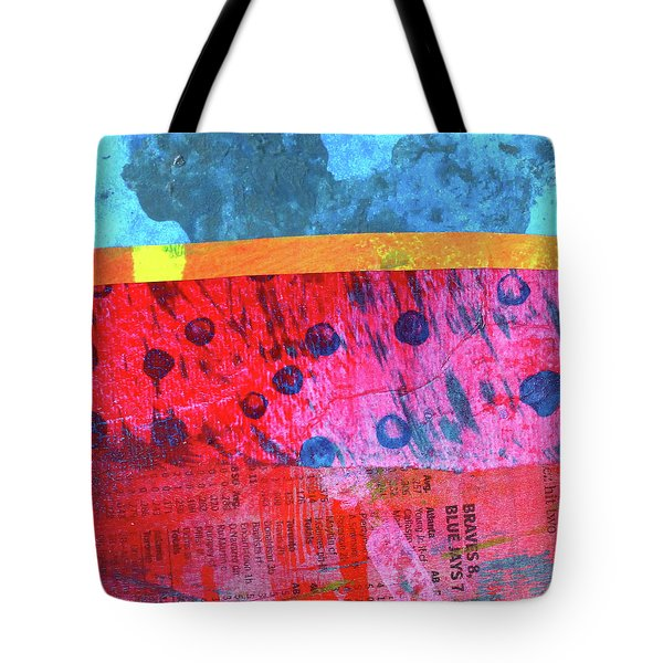 Tote Bag featuring the painting Square Collage No. 12 by Nancy Merkle
