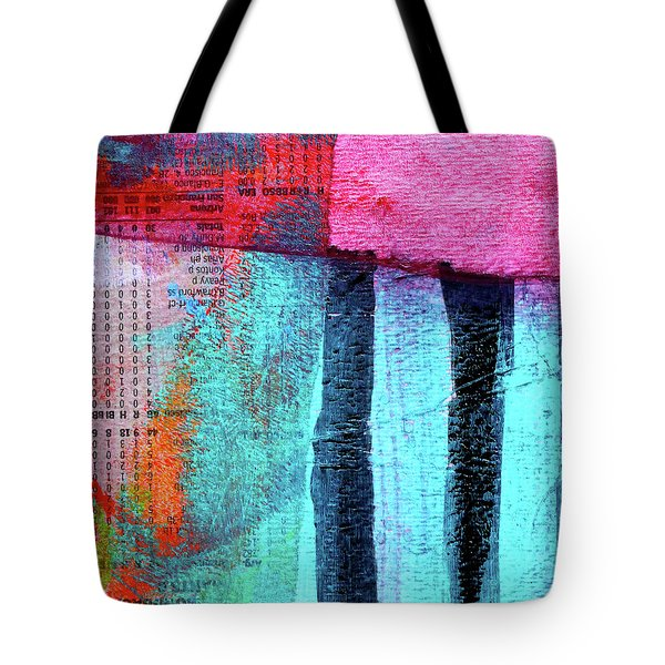 Tote Bag featuring the painting Square Collage No 4 by Nancy Merkle