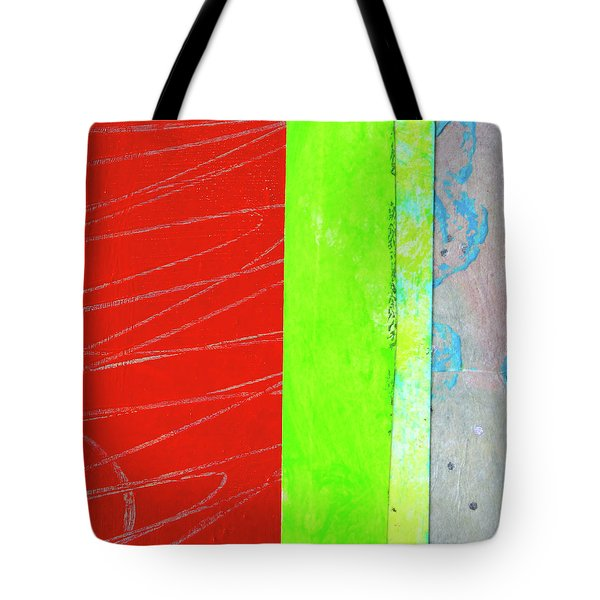 Tote Bag featuring the painting Square Collage No. 5 by Nancy Merkle