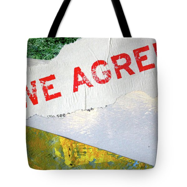 Tote Bag featuring the mixed media Square Collage No. 7 by Nancy Merkle