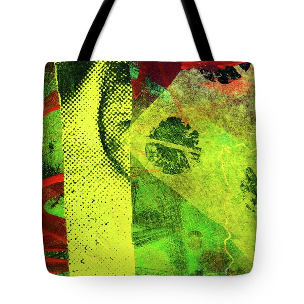 Tote Bag featuring the mixed media Square Collage No. 8 by Nancy Merkle