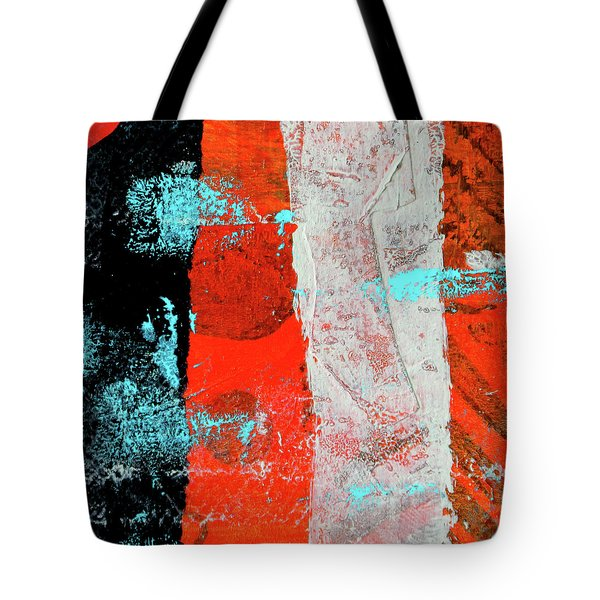 Tote Bag featuring the mixed media Square Collage No. 9 by Nancy Merkle