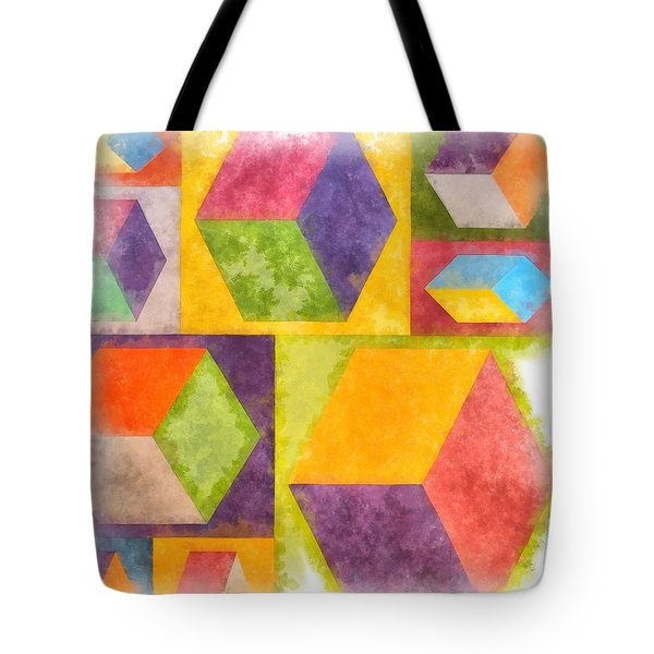 Square Cubes Abstract Tote Bag